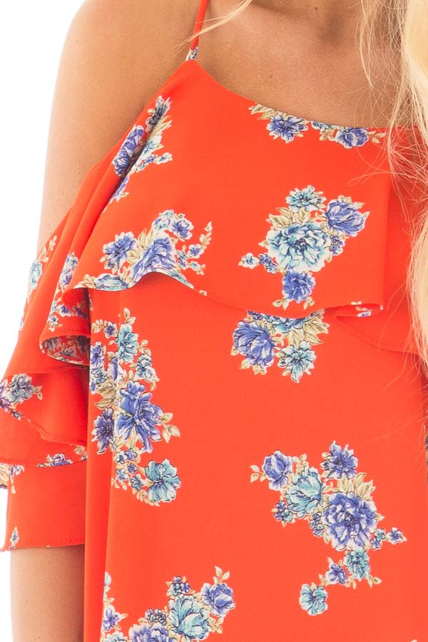 French Marigold Cold Shoulder Floral Ruffle Top detail
