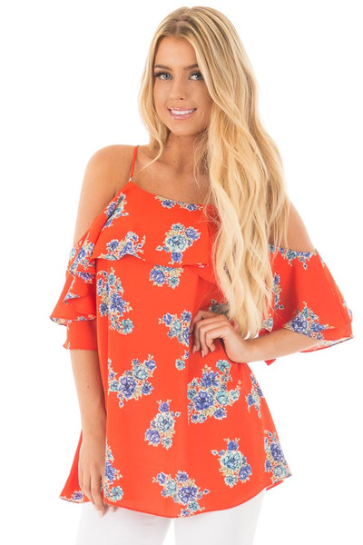 French Marigold Cold Shoulder Floral Ruffle Top front close up