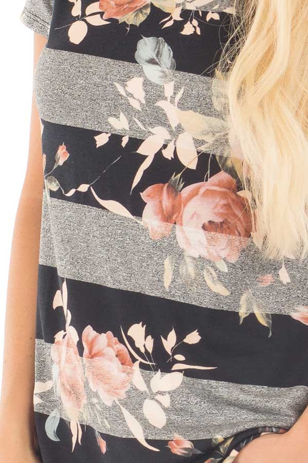 Black and Charcoal Striped Tee with Blush Floral Print detail