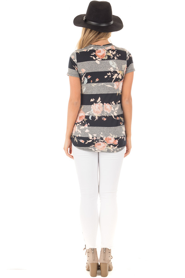 Black and Charcoal Striped Tee with Blush Floral Print back full body
