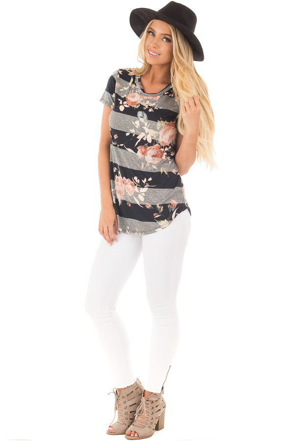 Black and Charcoal Striped Tee with Blush Floral Print front full body