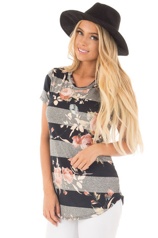 Black and Charcoal Striped Tee with Blush Floral Print front close up