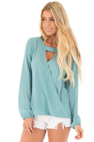 Teal Long Sleeve Surplice Top with Keyhole Front Detail front close up