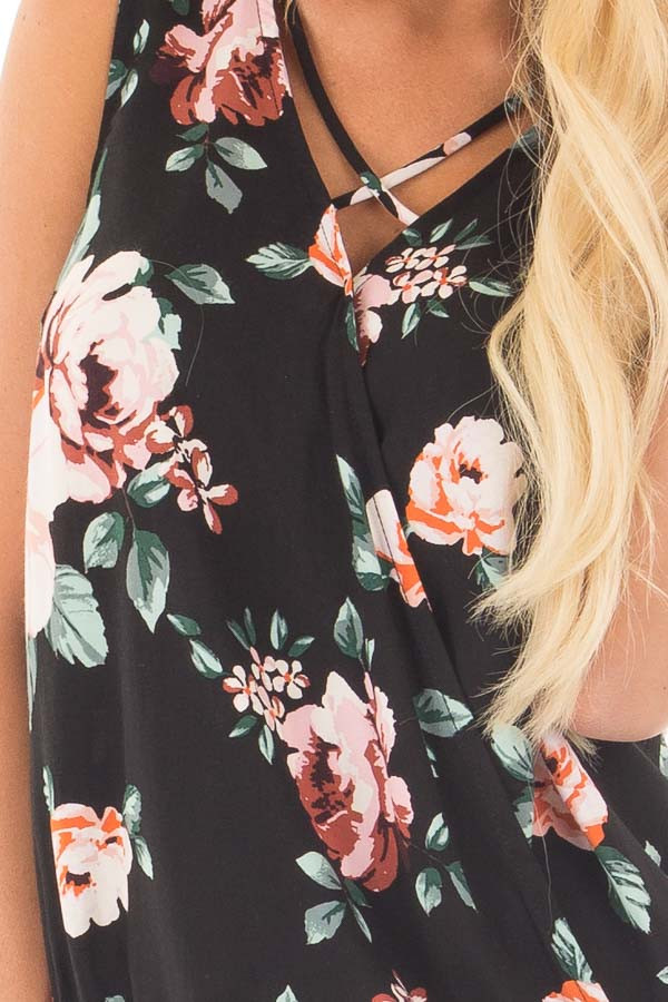Black Floral Crossover Top with Criss Cross Detail detail