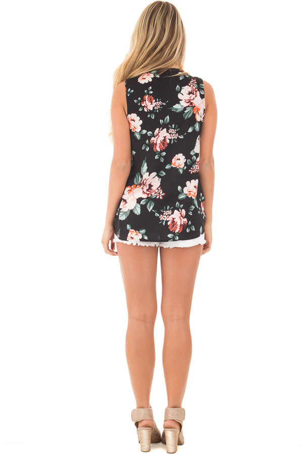 Black Floral Crossover Top with Criss Cross Detail back full body