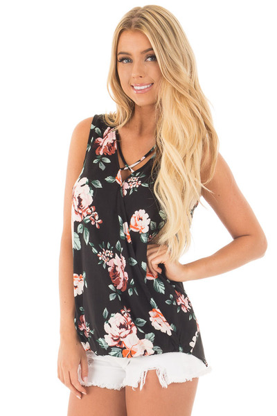 Black Floral Crossover Top with Criss Cross Detail front close up