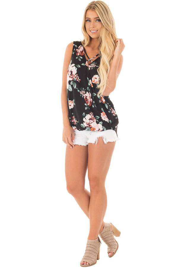 Black Floral Crossover Top with Criss Cross Detail front full body