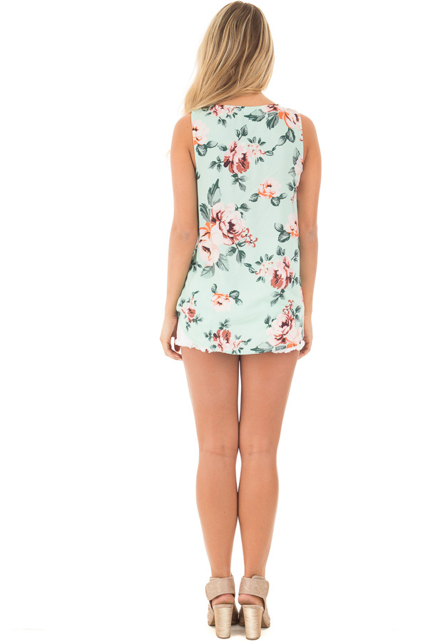 Mint Floral Crossover Top with Criss Cross Detail back full body