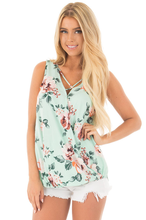 Mint Floral Crossover Top with Criss Cross Detail front close up
