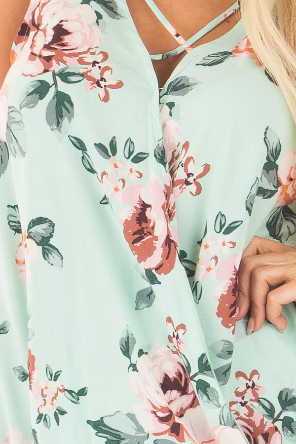Mint Floral Crossover Top with Criss Cross Detail detail