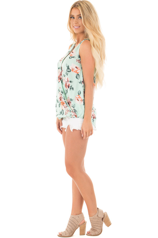 Mint Floral Crossover Top with Criss Cross Detail side full body