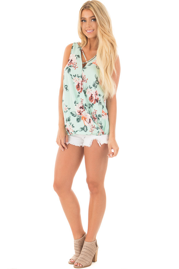 Mint Floral Crossover Top with Criss Cross Detail front full body