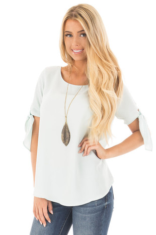 Mint Chiffon Round Neck Top with Tie Sleeve Detail front close up