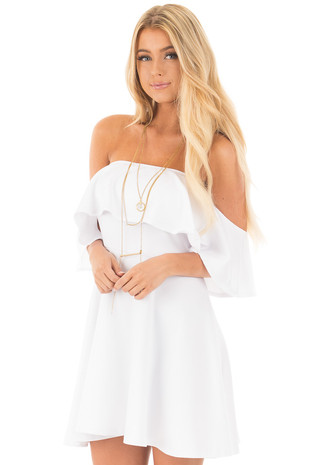 White Off Shoulder Tunic with Overlay Sleeve Detail front close up