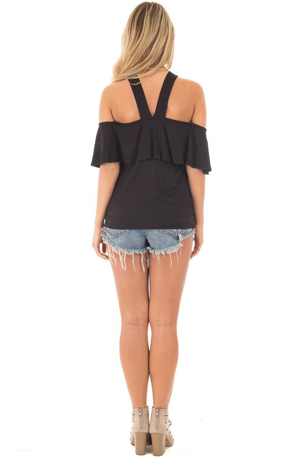 Black Off Shoulder Overlay Top with V Neck Halter back full body