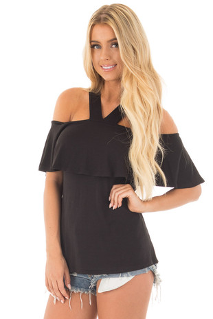 Black Off Shoulder Overlay Top with V Neck Halter front close up