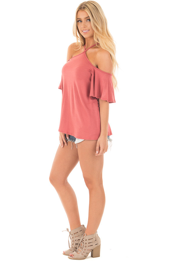 Mauve Halter Top with Ruffle Swing Sleeve Detail side full body