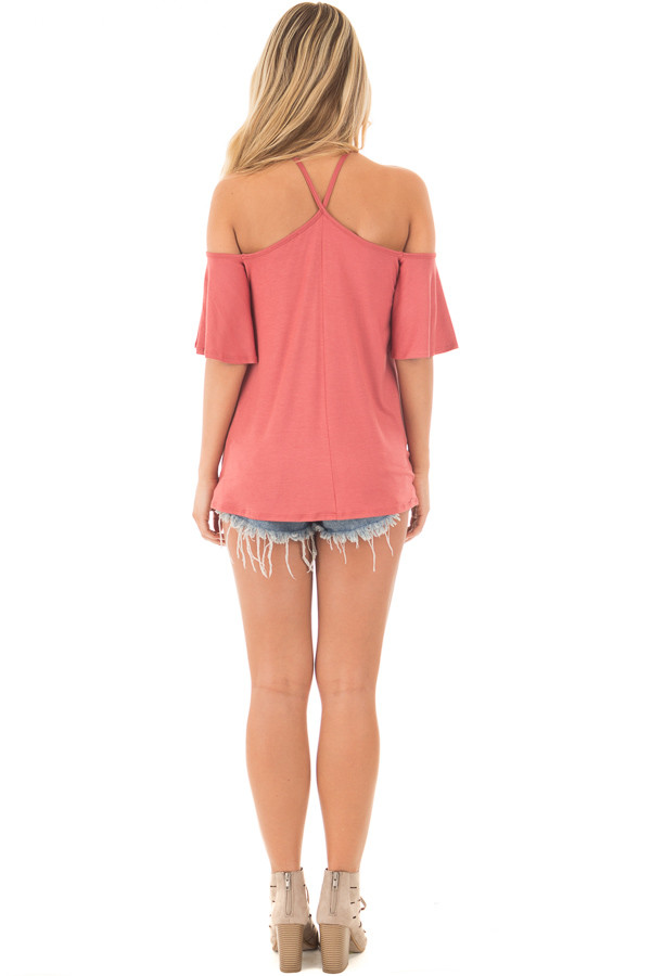 Mauve Halter Top with Ruffle Swing Sleeve Detail back full body