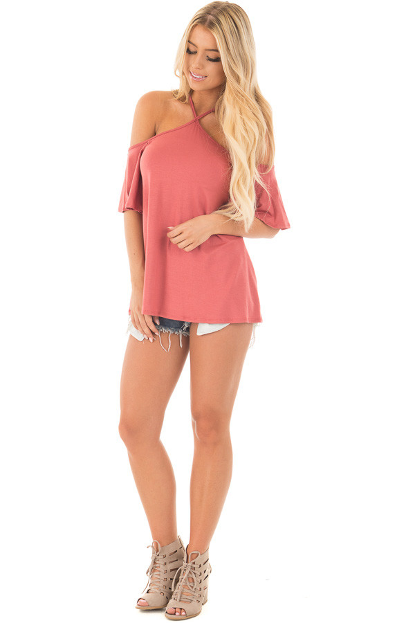 Mauve Halter Top with Ruffle Swing Sleeve Detail front full body