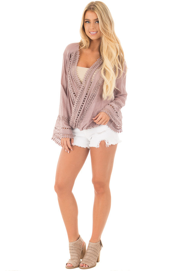 Dusty Mauve Long Sleeve Surplice Top with Crochet Detail front full body