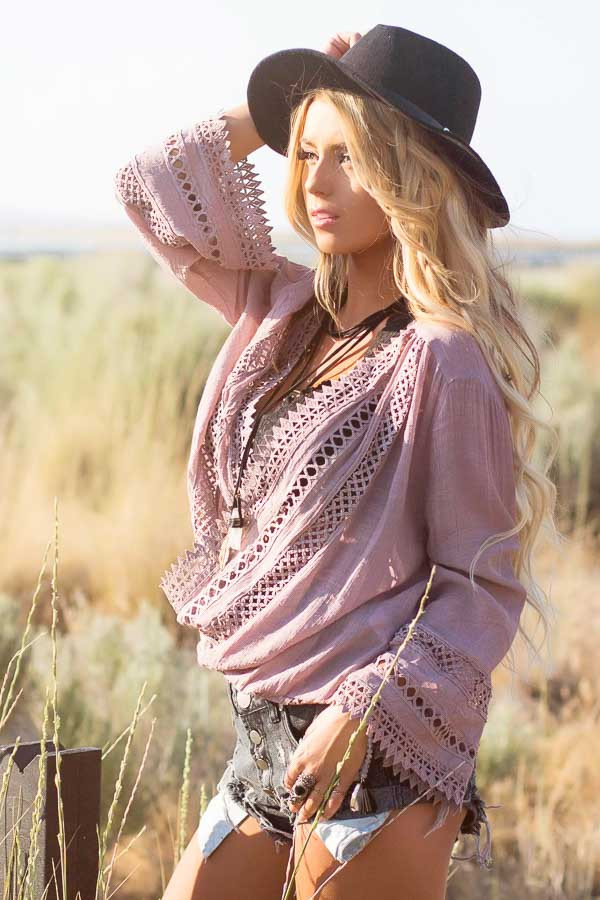 Dusty Mauve Long Sleeve Surplice Top with Crochet Detail side close up