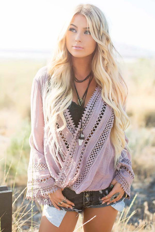 Dusty Mauve Long Sleeve Surplice Top with Crochet Detail front close up