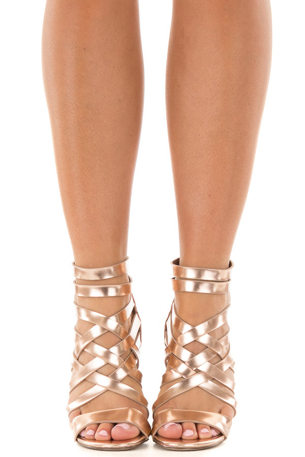 Rose Gold Metallic Leatherette Open Toe Strappy Block Heel front view