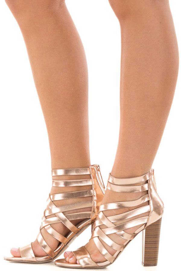 Rose Gold Metallic Leatherette Open Toe Strappy Block Heel side view