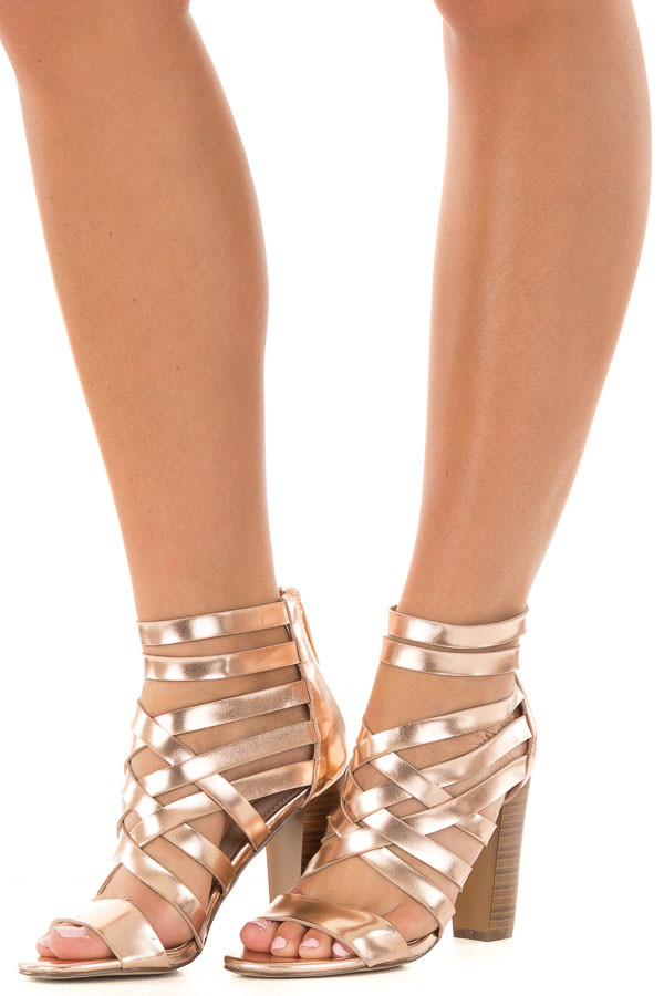 Rose Gold Metallic Leatherette Open Toe Strappy Block Heel front side view