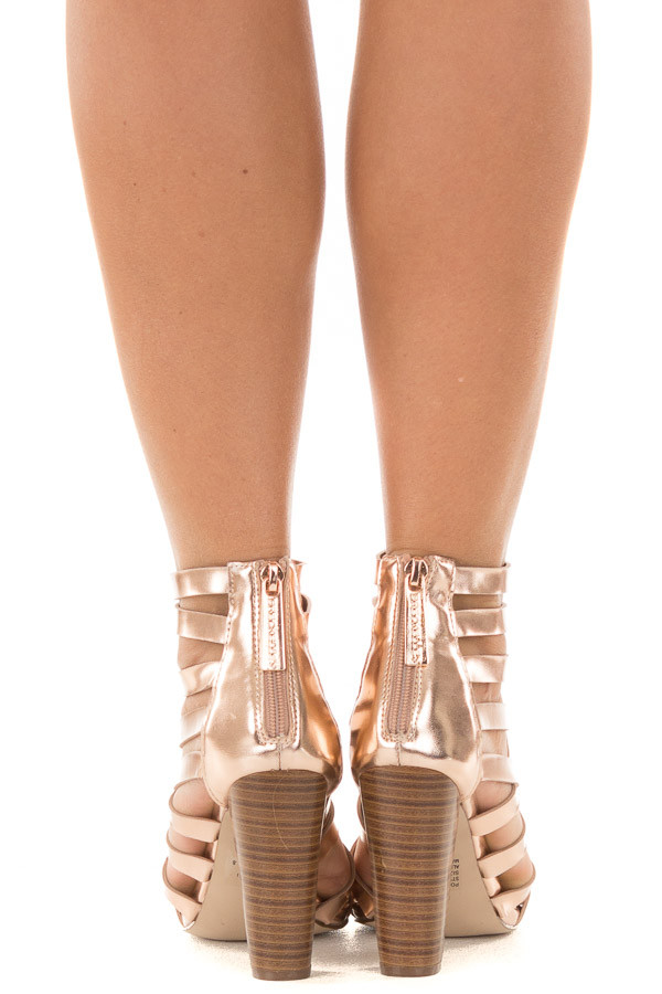 Rose Gold Metallic Leatherette Open Toe Strappy Block Heel back view