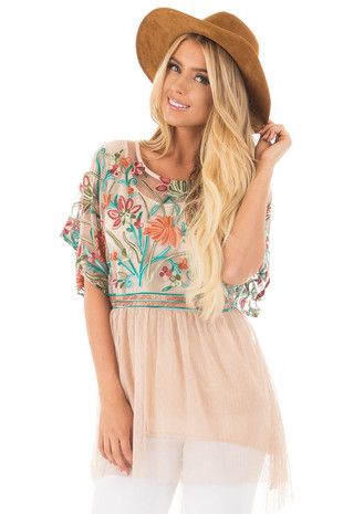 Taupe Floral Embroidered Tunic with Tulle Skirt Detail front close up