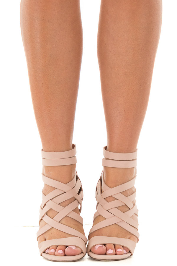 Blush Faux Leather Open Toe Strappy Block Heel Lime Lush
