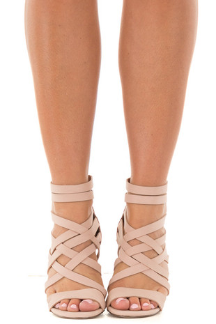 Blush Faux Leather Open Toe Strappy Block Heel front view