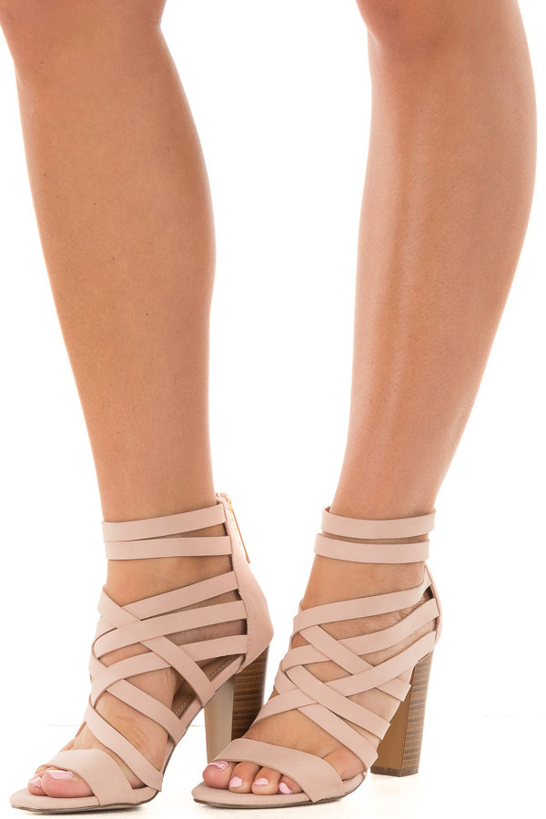 Blush Faux Leather Open Toe Strappy Block Heel front side view