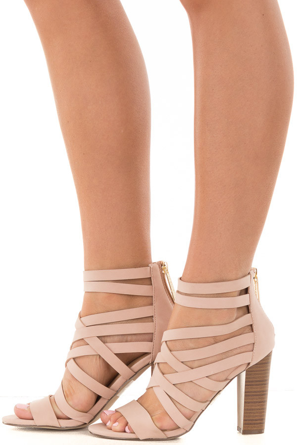 Blush Faux Leather Open Toe Strappy Block Heel side view