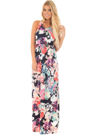 Navy Slinky Racerback Maxi Dress with Bright Floral Print front full body