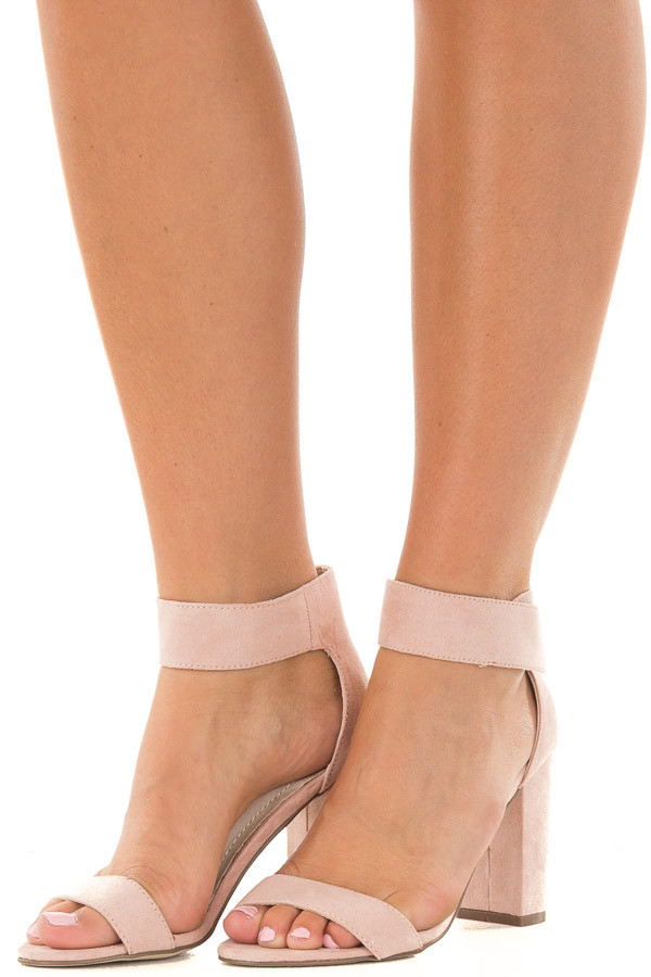 Blush Faux Suede Ankle Strap Chunky Heel Open Toe Sandal front side view