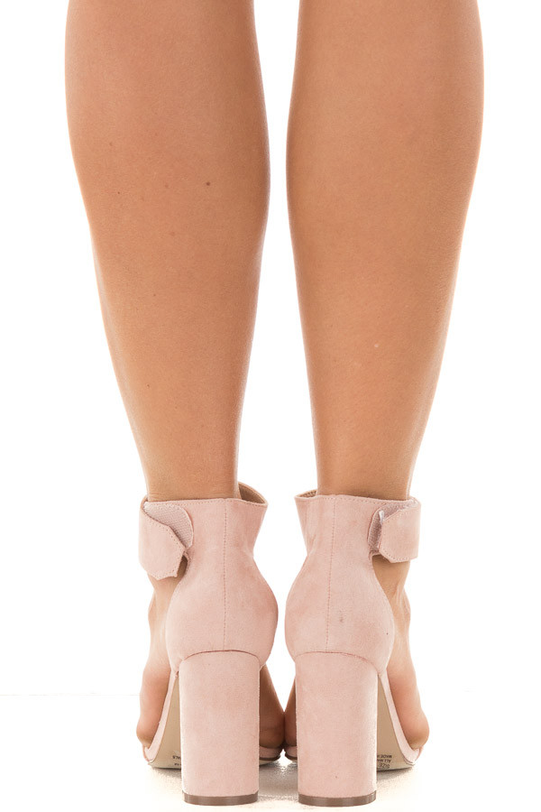 Blush Faux Suede Ankle Strap Chunky Heel Open Toe Sandal back view
