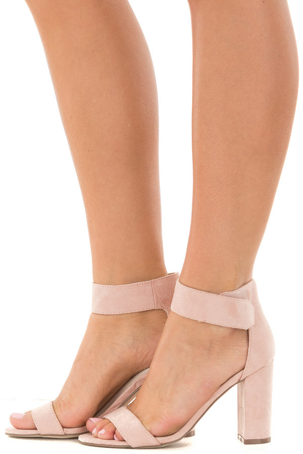 Blush Faux Suede Ankle Strap Chunky Heel Open Toe Sandal side view