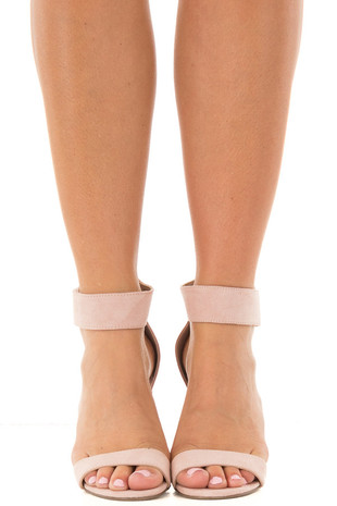 Blush Faux Suede Ankle Strap Chunky Heel Open Toe Sandal front view