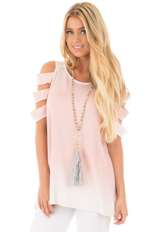 Soft Pink and Ivory Ombre Tunic Top with Sliced Sleeve Detail front close up