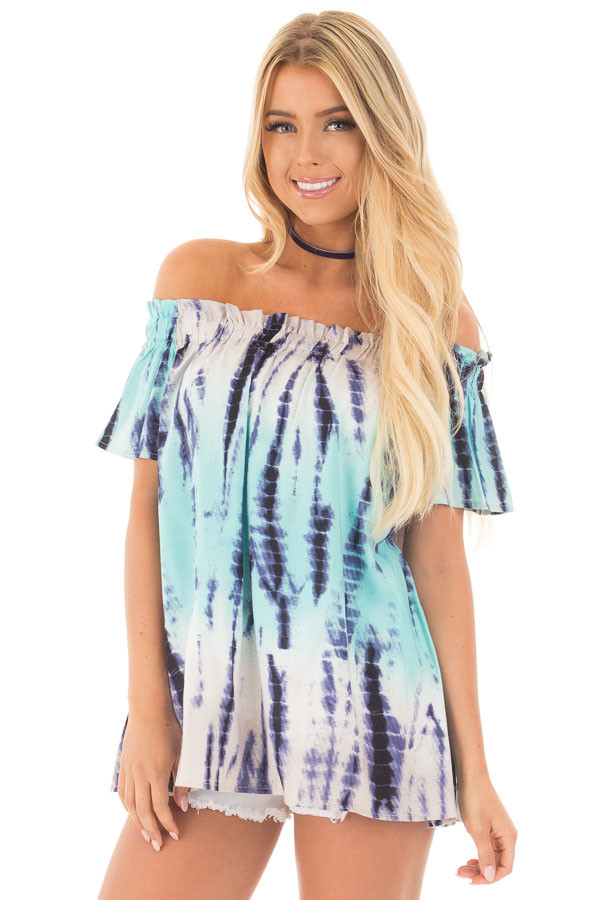 Navy and Mint Tie Dye Off Shoulder Top front close up
