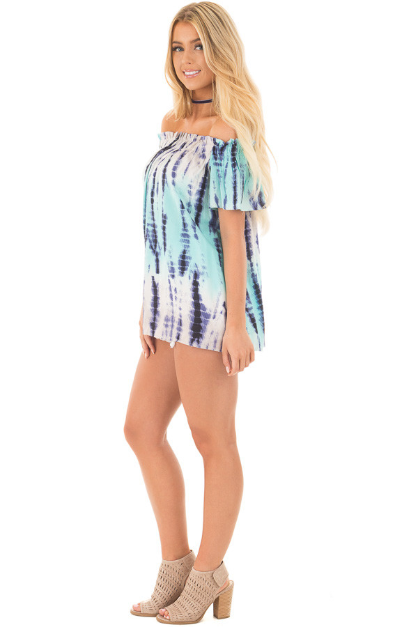Navy and Mint Tie Dye Off Shoulder Top side full body