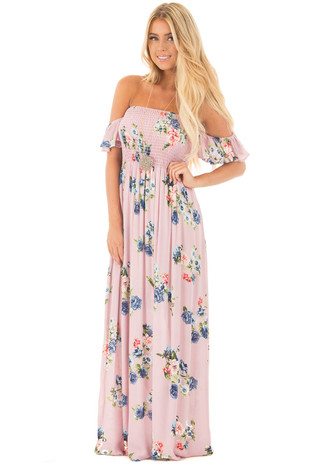 Blush Floral Print Off Shoulder Maxi Dress front full body