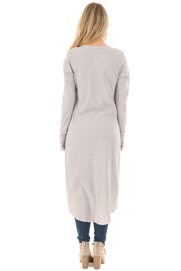 Heather Grey Ribbed Hi Low Long Cardigan with Pockets back full body