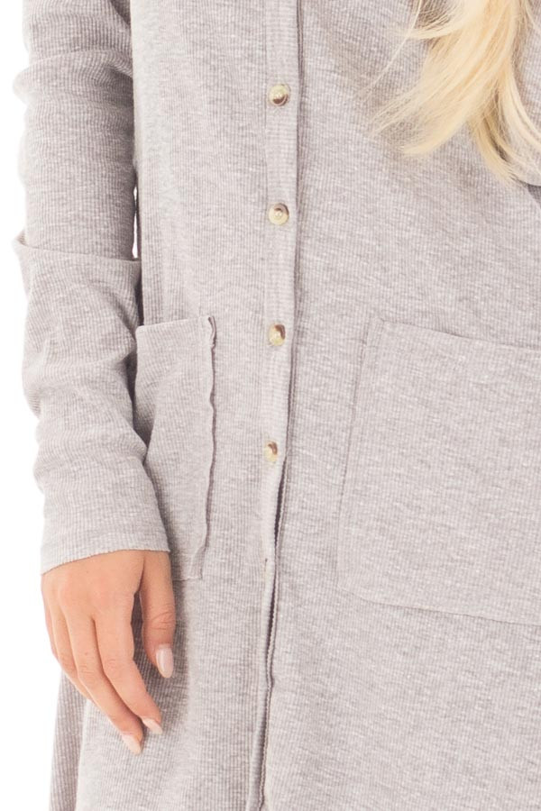 Heather Grey Ribbed Hi Low Long Cardigan with Pockets detail