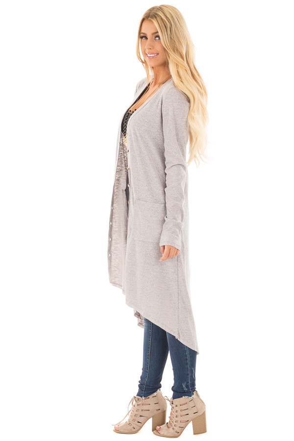 Heather Grey Ribbed Hi Low Long Cardigan with Pockets side full body