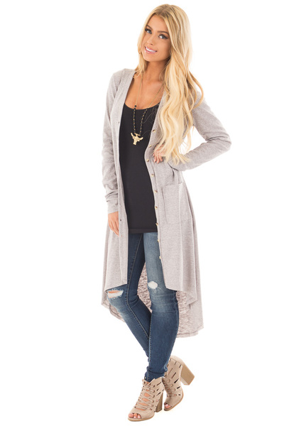 Heather Grey Ribbed Hi Low Long Cardigan with Pockets front full body