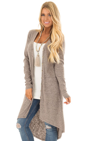 Cocoa Ribbed Hi Low Long Cardigan with Pockets front close up