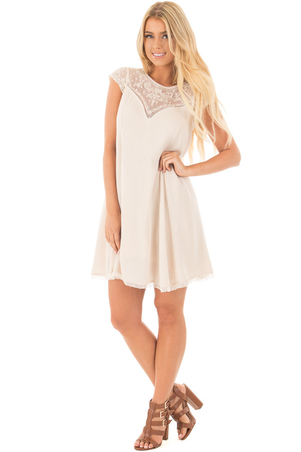 Mocha Swing Dress with Sheer Detailed Sweetheart Neckline front full body